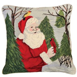 santa with birds michaelian holiday pillow