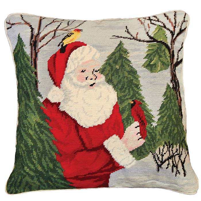 santa with birds michaelian holiday pillow