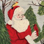 santa with bird in forest