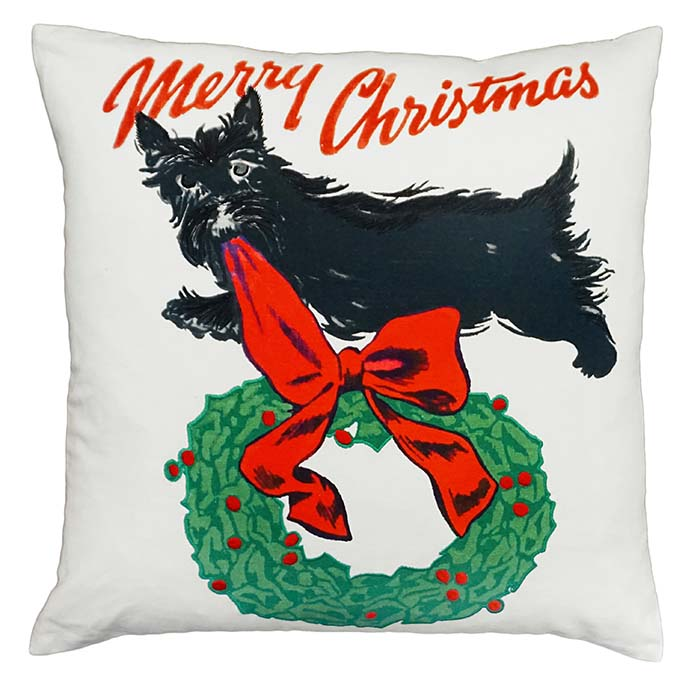 scottie christmas michaelian holiday pillow