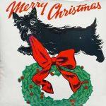 scottie dog and christmas wreath