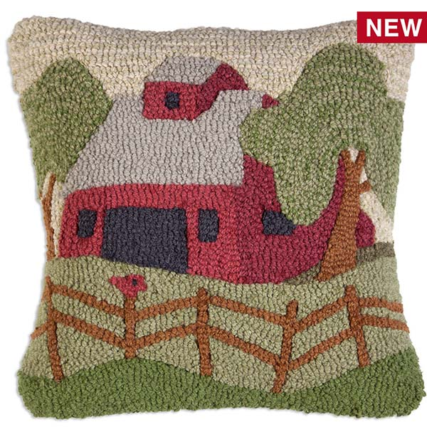 Red barn and red bird on a fence throw pillow