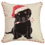 christmas black lab michaelian home throw pillow