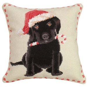 christmas black lab michaelian home throw pillow