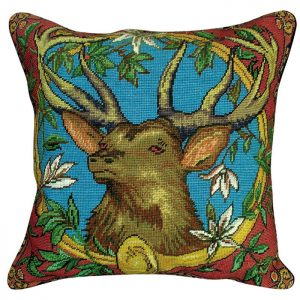 elk with horn needlepoint pillow