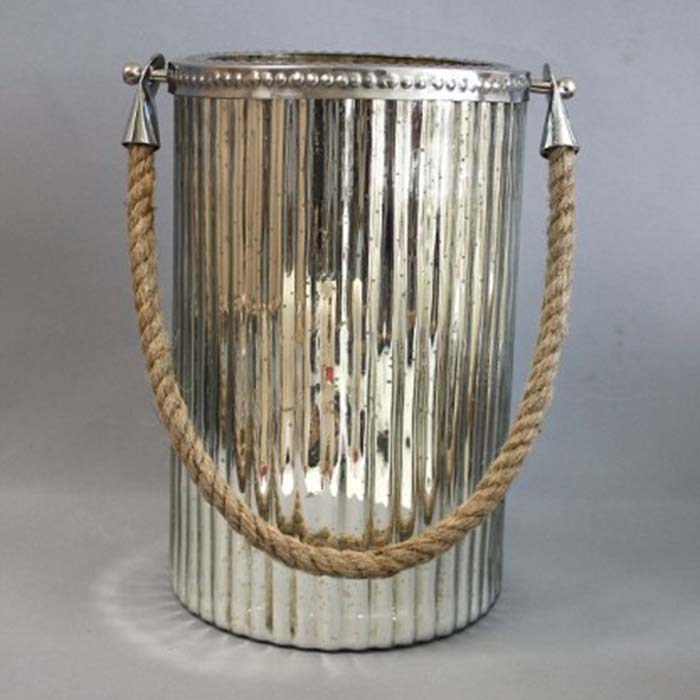 Hurricane Lamp 6 By 9.5 With Rope Lighht Garden
