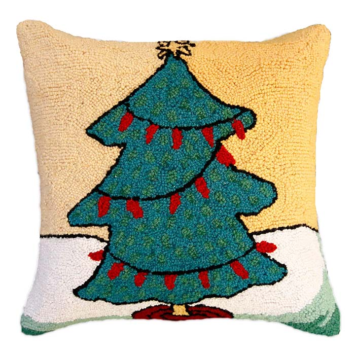 tree with red lights hooked pillow