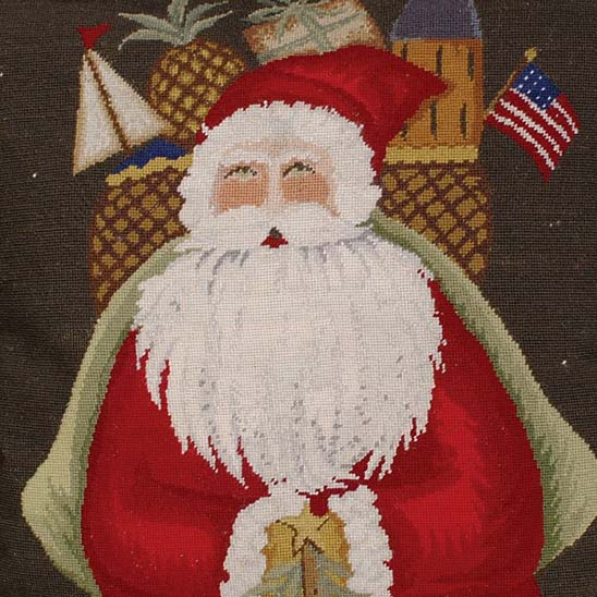 santa with gifts pillow detail of petit point