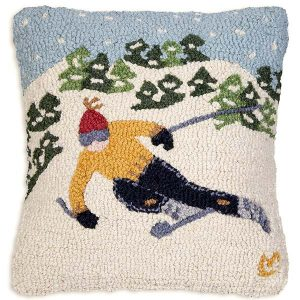 tree skier throw pillow