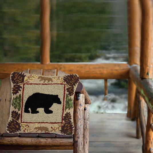 northwoods bear pillow on porch