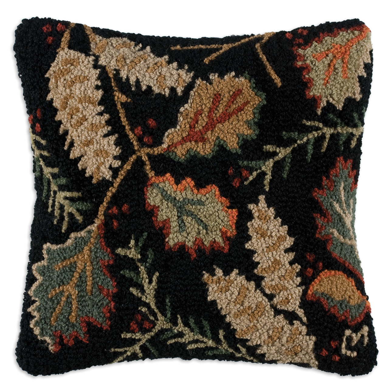 forest floor oak leaves pine needles and cones chandler 4 corners throw pillow