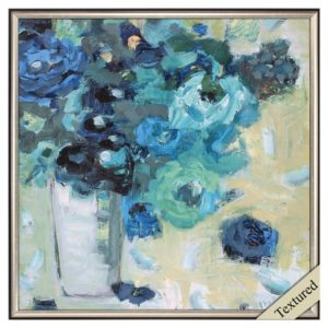harmony in blue flowers white vase