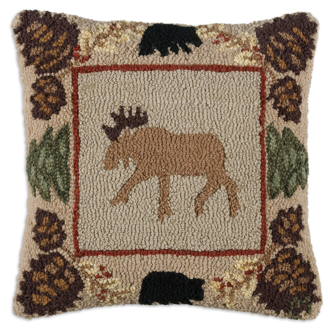 northwoods moose with pinecones and a bear