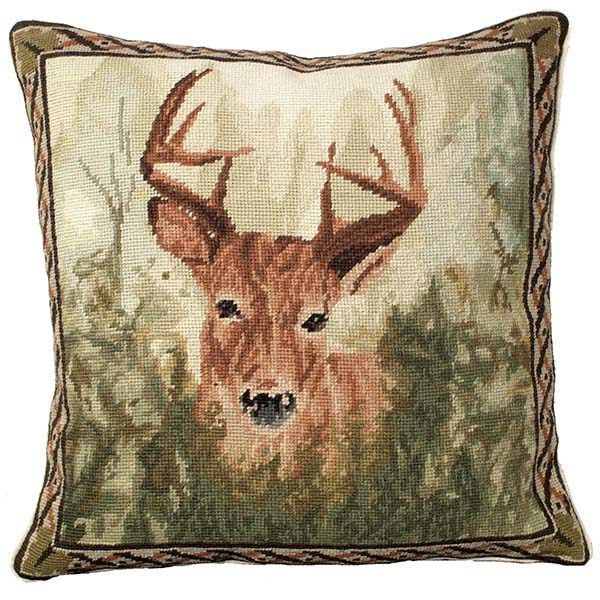 stag in forest michaelian home throw pillow