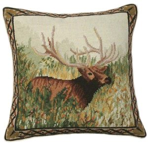 elk in the woods michaelian home throw pillow