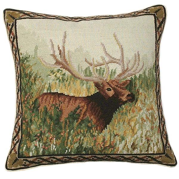 elk in the woods michaelian home throw pillow