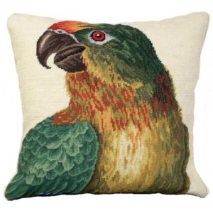 michaelian home parrot needlepoint pillow