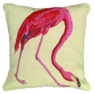 michaelian home pink flamingo needlepoint pillow