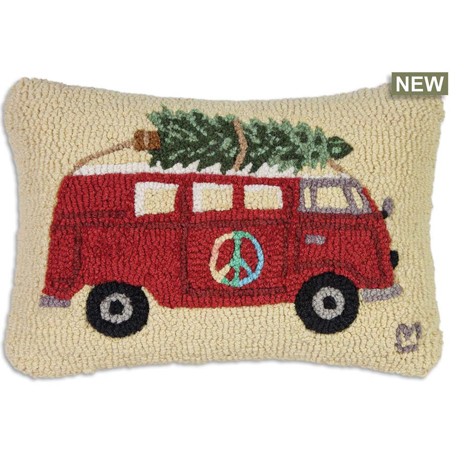 Peace At Christmas Hooked Wool Pillow
