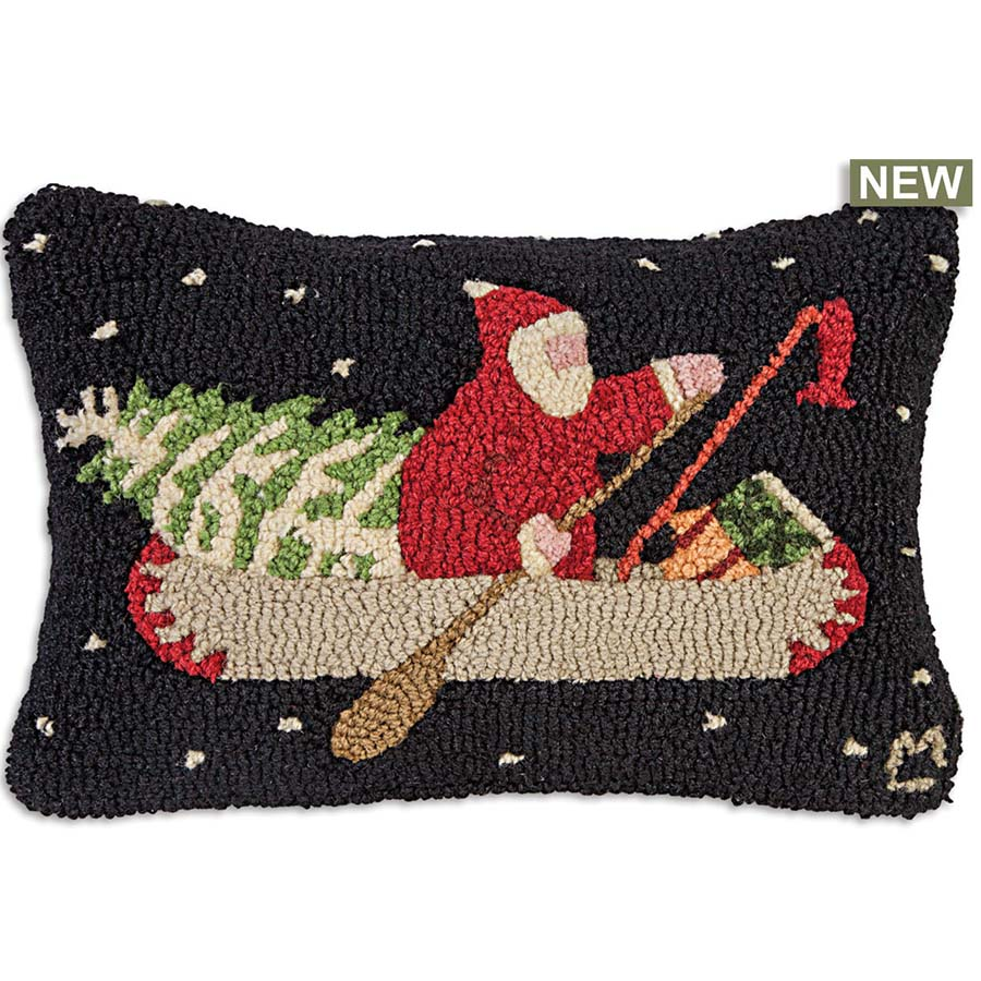 Chandler 4 Corners Santas Last Delivery Hooked Wool Throw Pillow