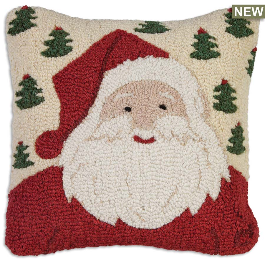 jolly ole santa with red smile throw pillow