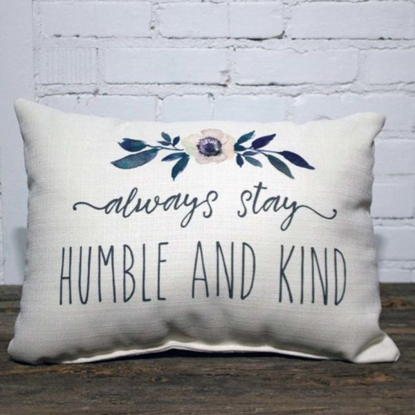 Always stay humble and kind rectangle, Little Birdie throw pillow