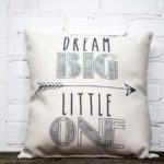 Dream big little one pillow little birdie gray
