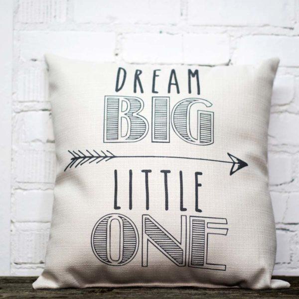 Dream big little one pillow little birdie gray