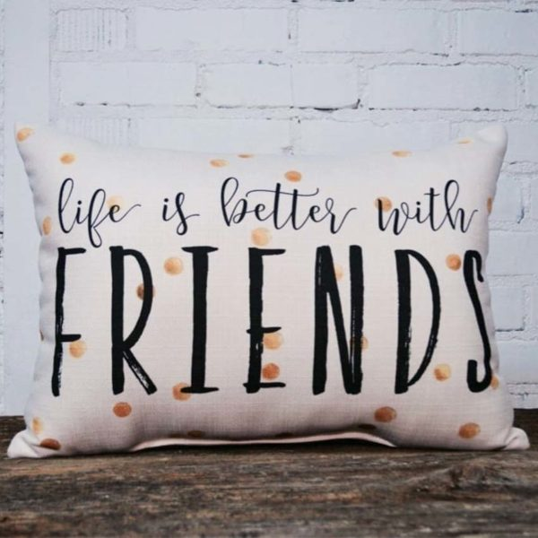 Life is better with friends rectangle, Little Birdie throw pillow