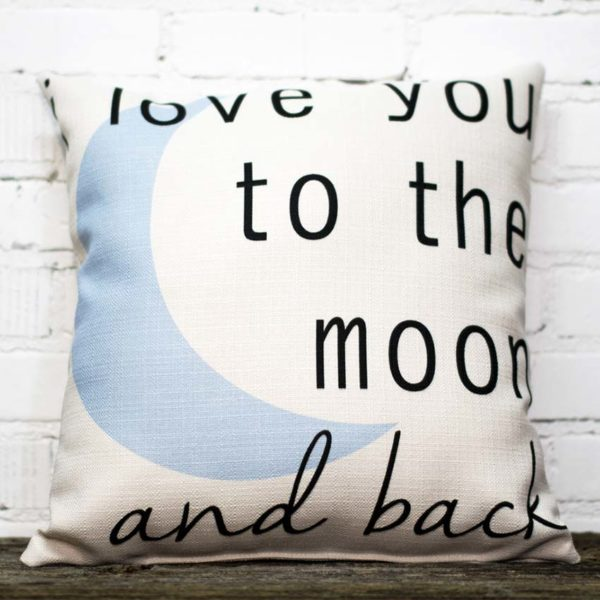 Love you to the moon blue pillow little birdie
