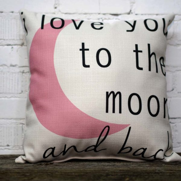Love you to the moon pink pillow little birdie