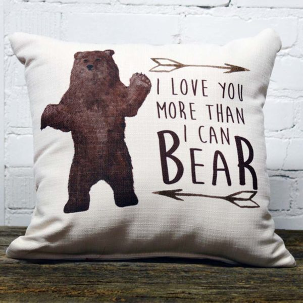 Love you more than I can bear little birdie pillow