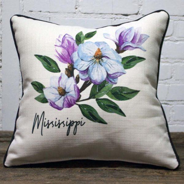 Mississippi state flower Magnolia pillow
