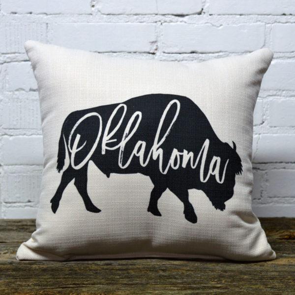 Oklahoma buffalo throw pillow