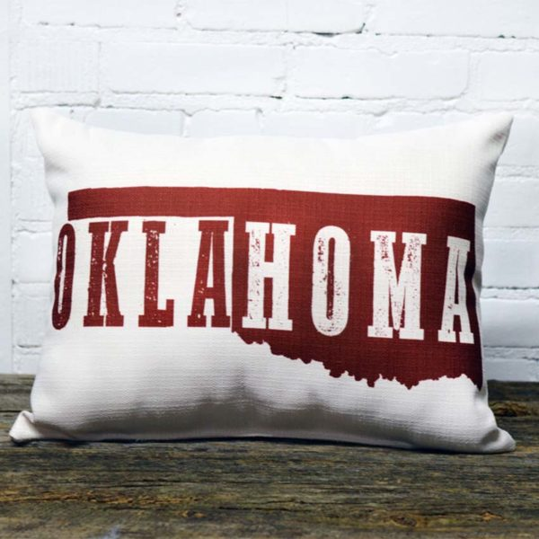 Oklahoma deep red pillow little birdie