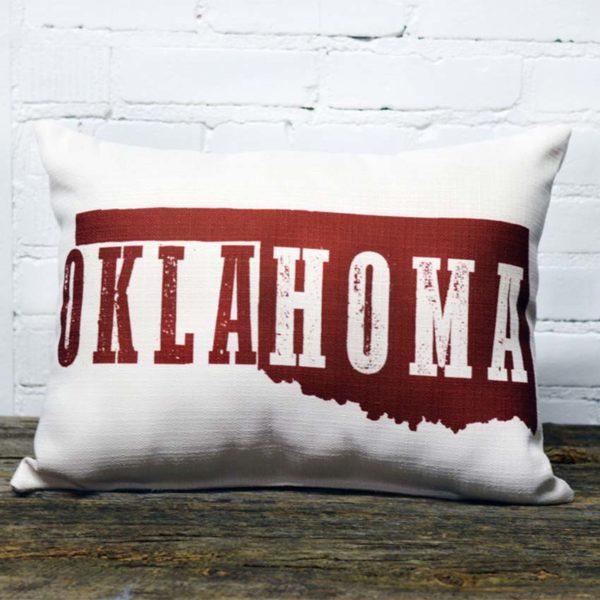 Oklahoma deep red pillow little birdie