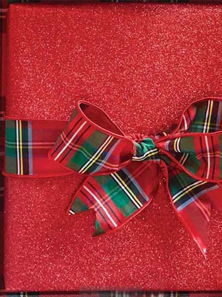 red package plaid bow