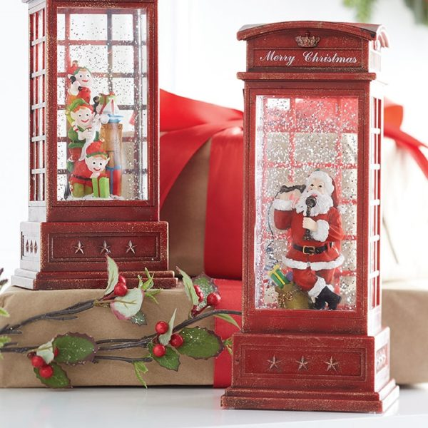 santa in telephone booth, raz imports, lighted water booth