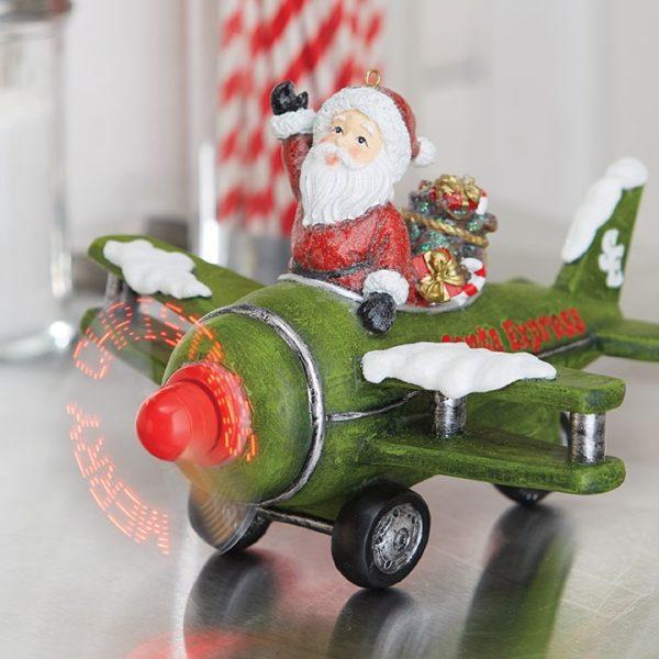 animated musical santa in plane raz imports