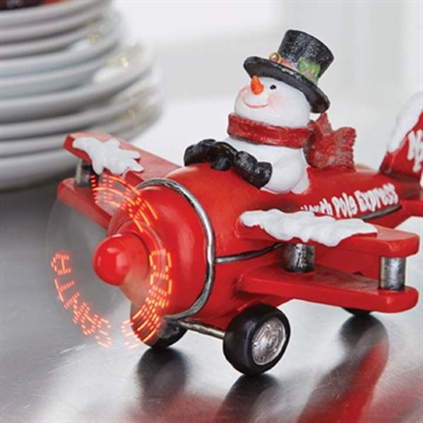 raz imports, snowman in red plane, musical, automated