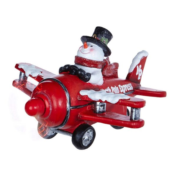 raz imports, snowman in red plane, automated, music