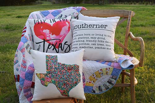 texas state pillows the little birdie