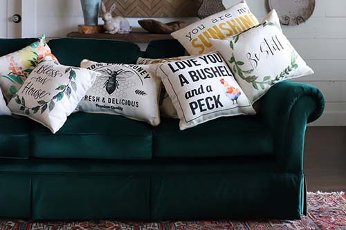 green couch with several little birdie throw pillows