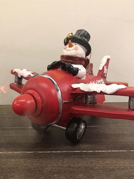 raz imports, snowman plane red ornament