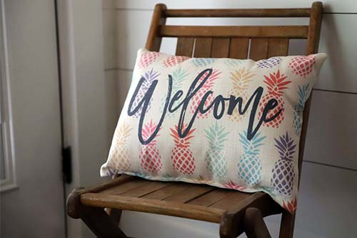welcome pineapple pillow little birdie