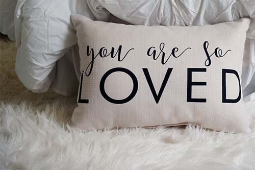 you are so loved pillow the little birdie
