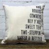 Texas Words pillow Little Birdie