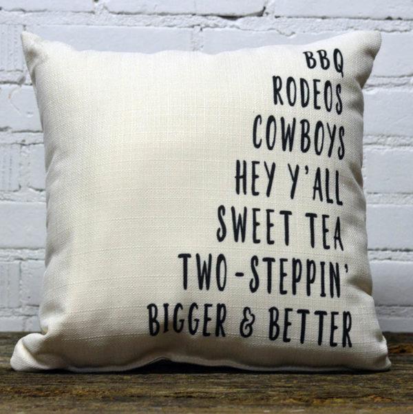 Texas Words pillow Little Birdie