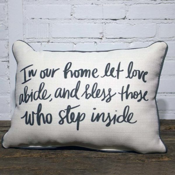 in our home let love abide throw pillow little birdie