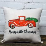 merry little christmas truck pillow little birdie